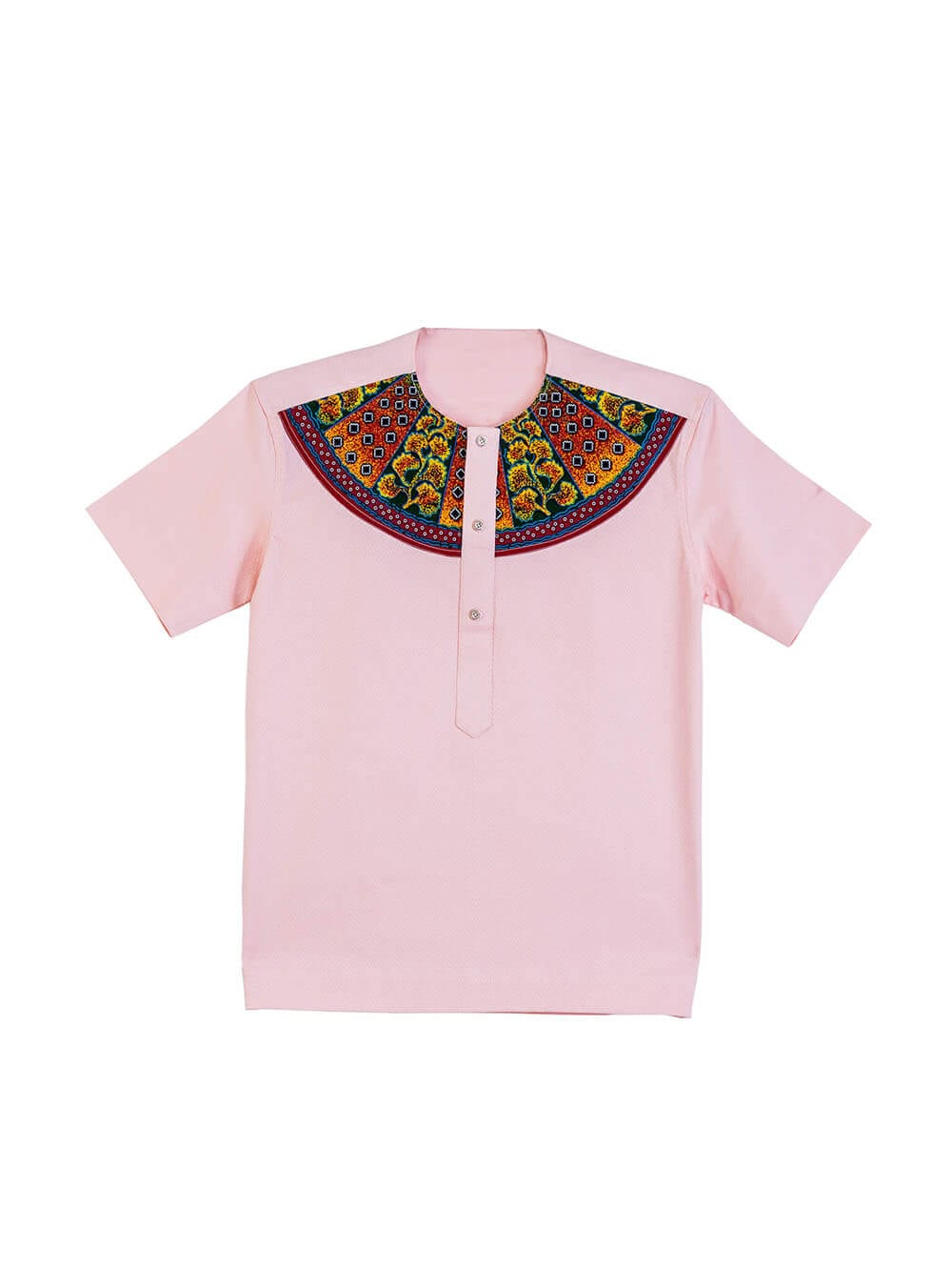 Akuffo-ahene Patched Pattern on Plain Peach, Textured Cotton Shirt
