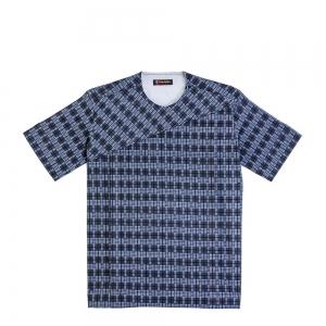 Men's blue and black plaids, round neck Short sleeve shirts
