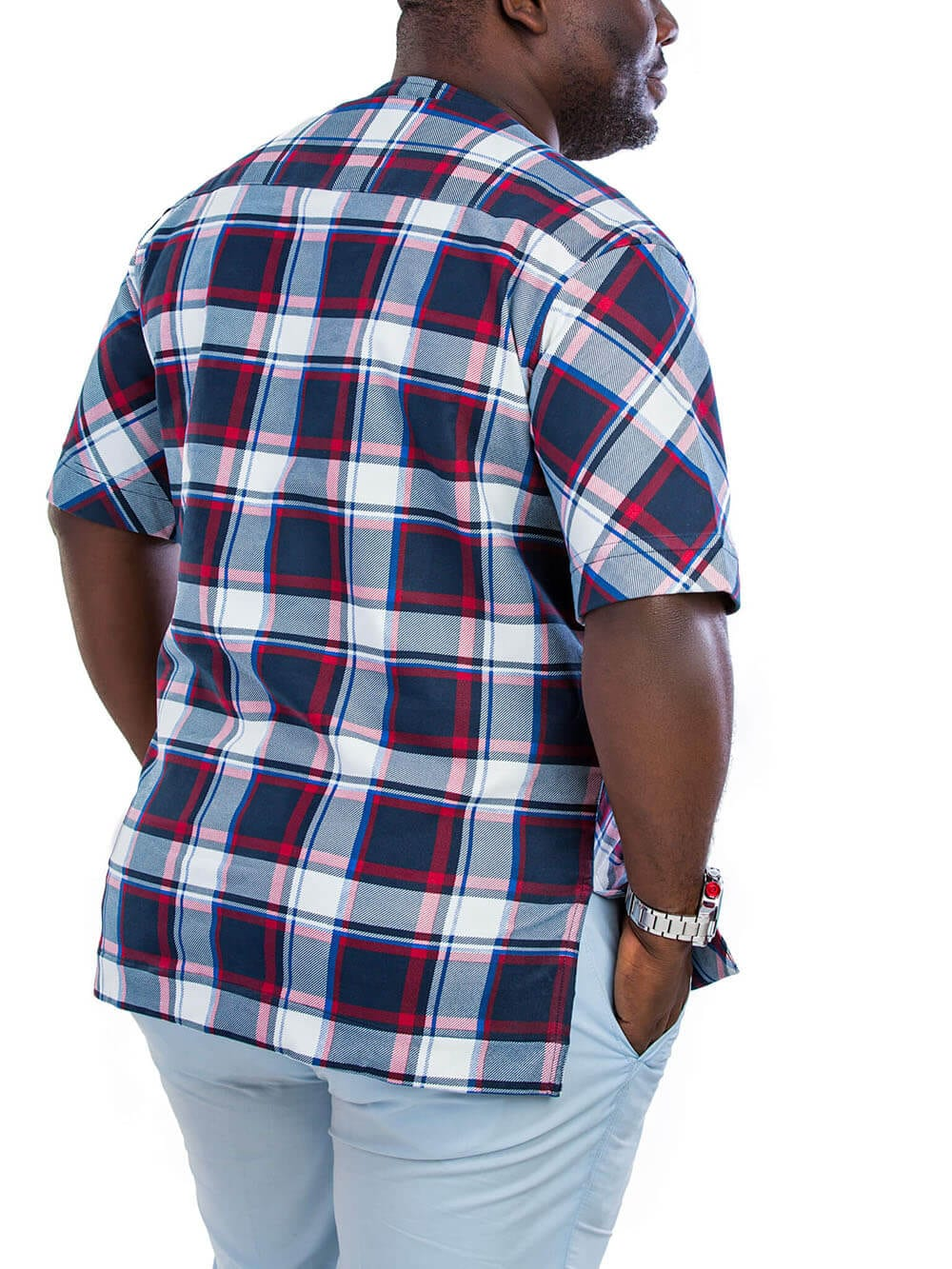 Men's Navy Blue And Wine Round Neck Short Plaids and Stripes Short Sleeve Shirts with Pocket Squared