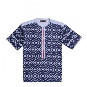 Men's African Print Black And White Short Sleeve Pattern Shirt