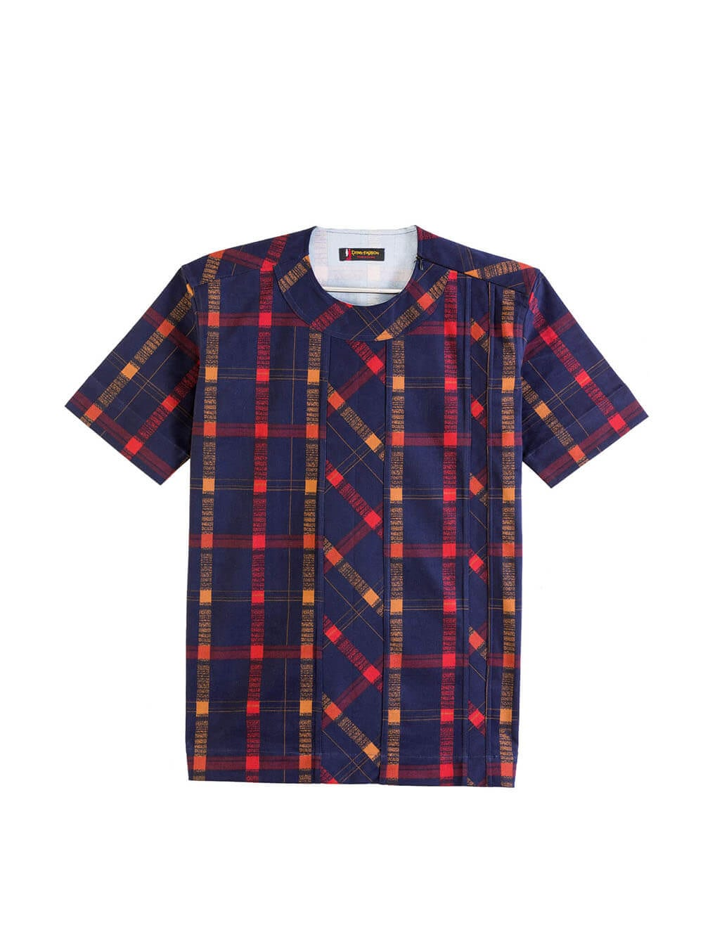 Men's trendy Navy blue and cola Plaids and stripes