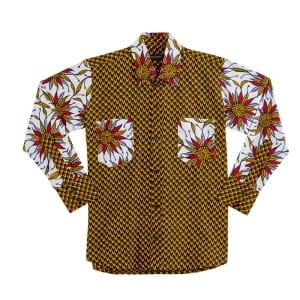 Men's Double Breast Pocket African Print Long Sleeve with Collar Shirt