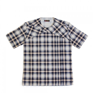 Men's Plaids And Stripes Round Neck Short Sleeve With Side Slit Shirt.