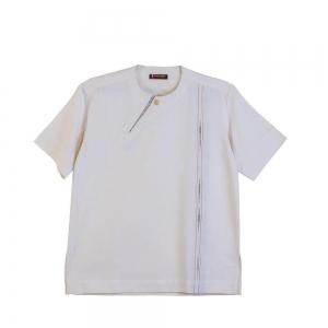 Men's Cream Hand Sown African Print with neckline slit, Cotton Shirt