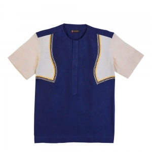 Men's Linen Cream And Navy Blue Combine Shirt With Embroidery